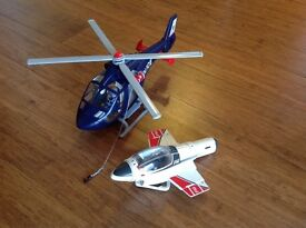 Play mobile police helicopter and spacecraft