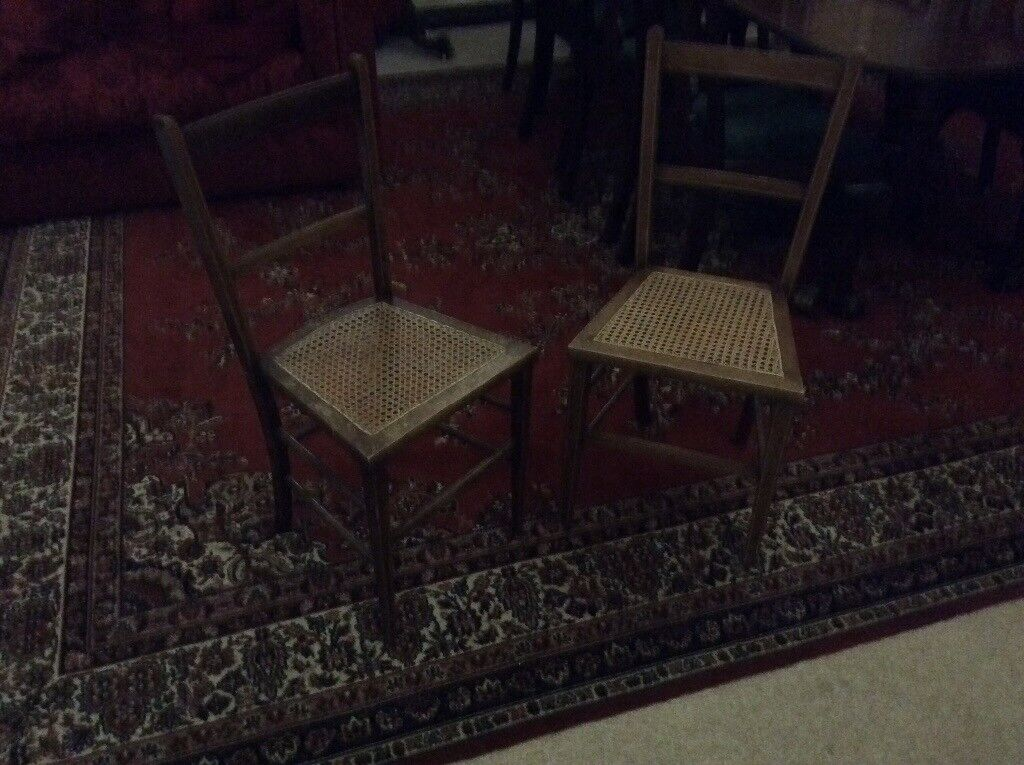 Antique pair rattan chairs small charming would suit child's bedroom