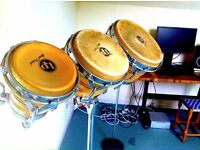 LP 3 piece Bongo drums Percussion, tuner and stand - LP Generation III - Trio and new skin