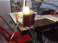 Table lamp made from old meccano.