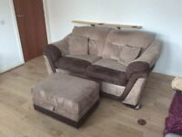Sofa bed 2/3 seater with foot stool.