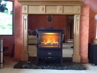 Fireplace surround, smoked mirror backing & Hearth