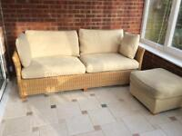 3 seater wicker sofa and footstool
