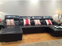 LUXURY BLACK ITALIAN LEATHER SOFA WITH WHITE PIPING & TWO CHAISE