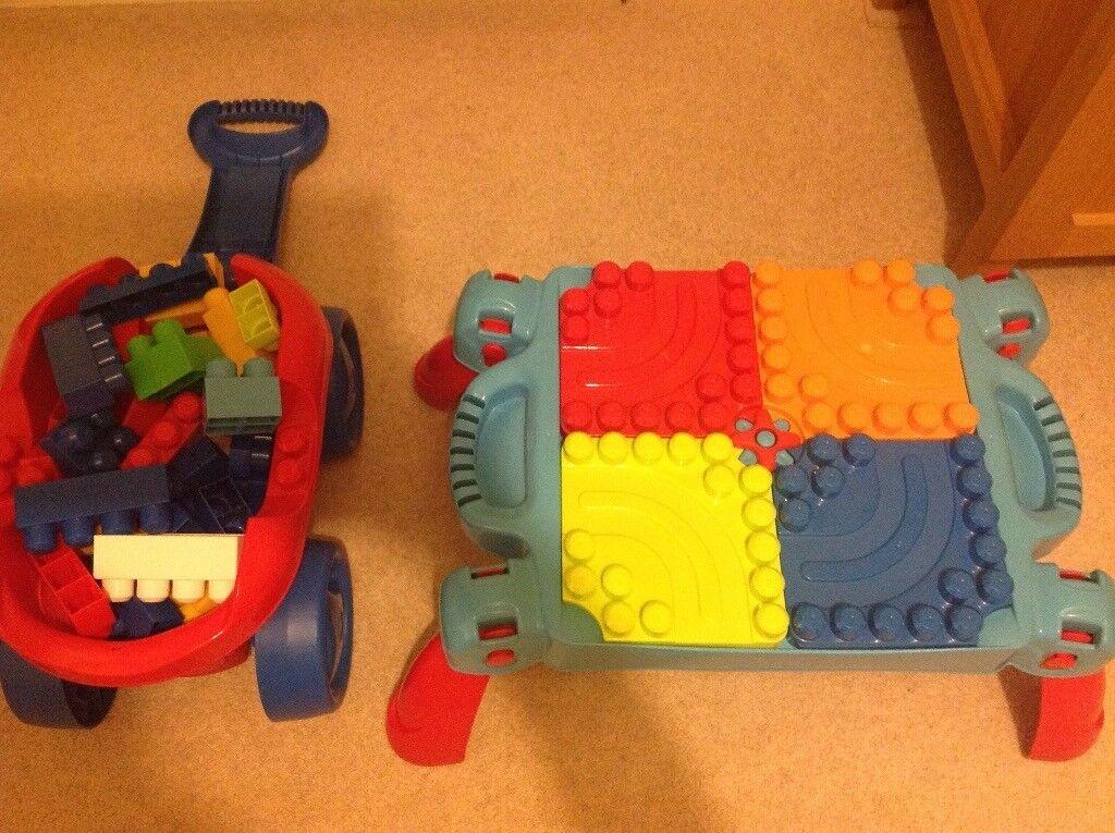 Mega bloks bundle including bloks, storage cart and play table