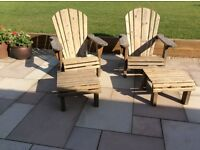 Slatted wooden chairs with foot stools/side tables