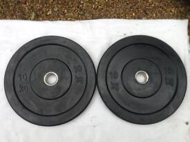 2 x 10kg Olympic Rubber Bumper Plates