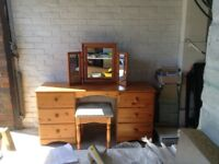 Pine Dressing Table, 2 Bedside Cabinets, Stool and Mirror