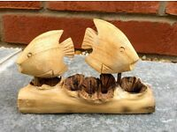 Ornament Hand carved Parasite wood fish on base