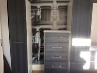 Double wardrobe with drawers, single wardrobe, chest of drawers, set of drawers and bedside cabinet