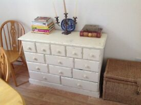 Antique 13 drawer chest of drawers solid wood painted in distressed look with wooden knob handles ..