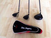 Set of 3 Golf Woods Clubs with Headcovers. VGC.