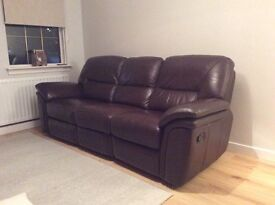 Three seater brown leather sofa with recliner