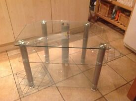 Glass and chrome TV table stand