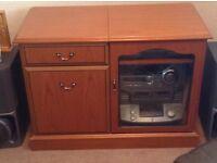 Teak Corner Display Unit & Teak Stereo Cabinet