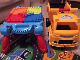 Truck and Mega Bloks Table