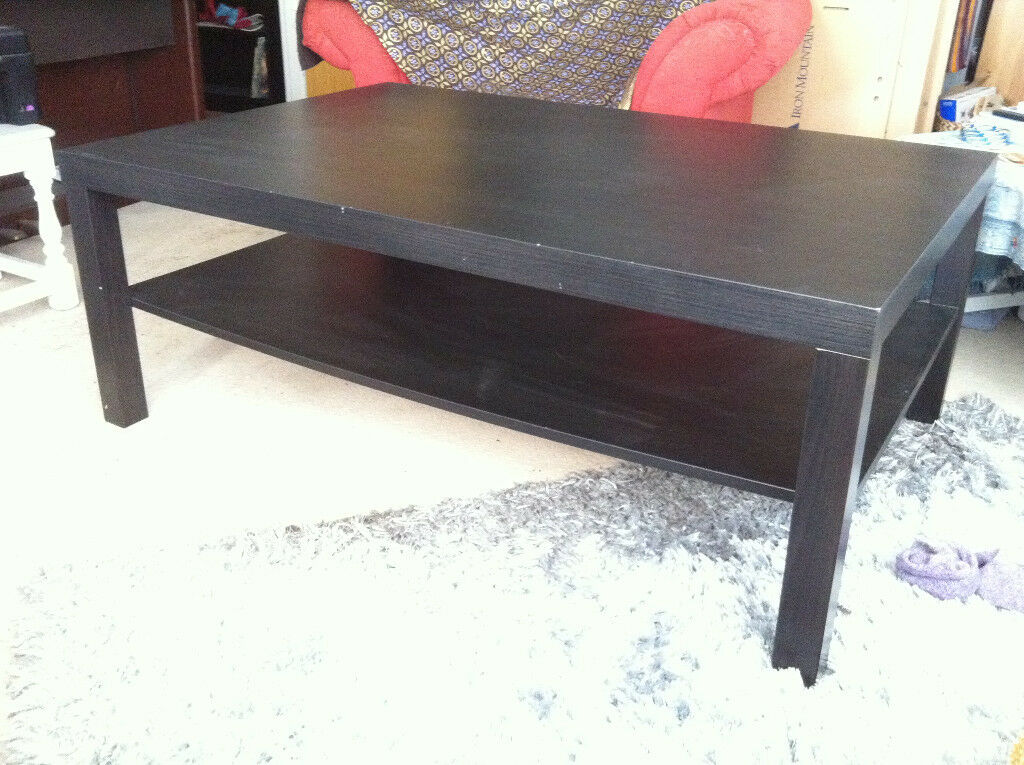 Large Dark Wood Coffee Table With Lower Shelf