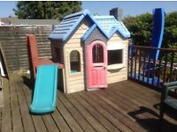 Large little tykes house with platform and slide