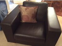Dark Brown Leather finish Armchair used as Decor Chair in Diner - Excellent Condition!