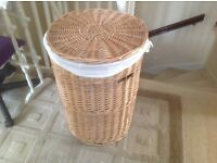 LARGE SIZE LINEN LINED LAUNDRY BASKET