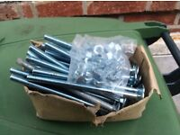 22 M10 x 160mm Coachbolts and nuts. Brand new
