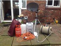Camping and caravan equipment, satalite dish and sat finder, gas, aqua roll, lots more
