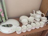 Royal Doulton Twilight Rose tea service + coffee cups