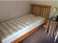 Excellent condition, pine framed 3ft single bed
