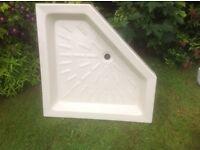 Corner stone/resin shower tray unused.