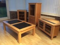 Atlantis light oak tall hi fi unit,matching corner TV cabinet,coffee table & smaller hi-fi cabinet