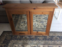 Large Mirrored Pine Bathroom Cabinet