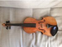 Violin and bow, 3/4 size, German, c.1900. In modern case; lovely tone and condition.