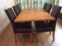 Set of six good quality dining chairs, solid oak and real leather