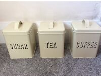 Vintage tea sugar and coffee containers tins