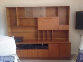 Teak veneer wall cabinet. Display shelf. Drinks cabinet. 2 drawers, 1 cupboard.