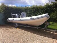 Wetline 580 RIB on Indespension trailer with 115HP Mariner Four stroke and many Extras