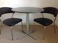 Black granite 80cm kitchen table and 2 chairs