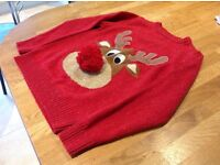 Children's Christmas Jumper Boy Girl Child Kid Age 10 years from Next Reindeer Red Xmas
