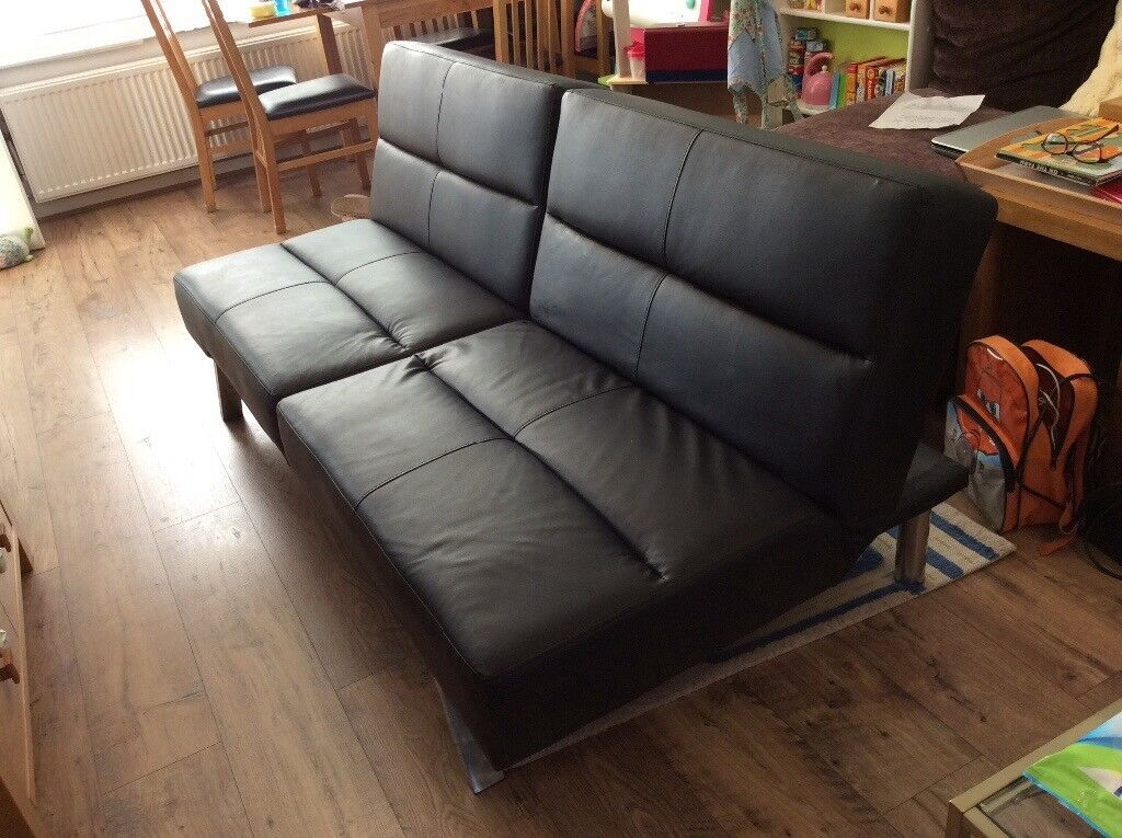 Asda click clack sofa bed black faux leather**SOLD** | in Carnoustie, Angus  | Gumtree