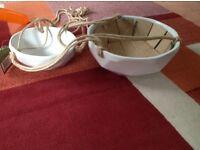 2 Tier ceramic hanging planter
