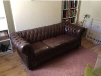 Comfy Brown leather 3 seater Chesterfield sofa