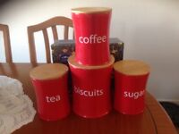 Set of sugar tea coffee biscuits canisters