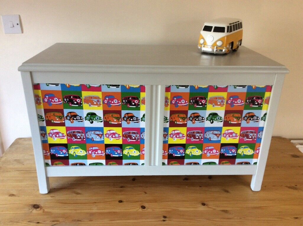 Painted wooden toy / storage box