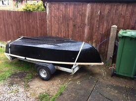 FIBREGLASS ROWING BOAT EIGHT FOOT with ROWLOCKS and Oars and Road Trailer