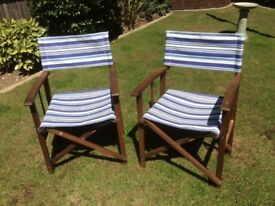 2 x blue and white striped garden Directors Chairs