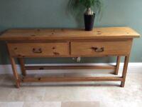 Mexican Pine Console Table with 2 Drawers