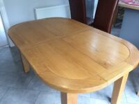 G plan heritage D-end dining table (solid oak) extending, and 6 high back leather chairs