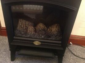 Free standing electric fire black stove with two heat settings ,flame effect in excellent condition