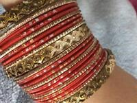 Women's red and gold set bangles costume jewellery great for weddings