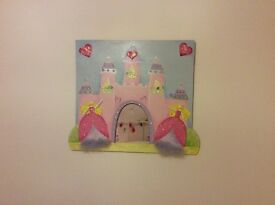 Princess castle hand crafted picture with mirror for girls room